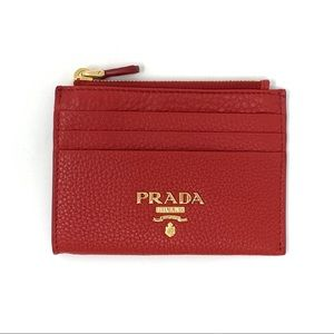 Prada Red Leather Card Holder